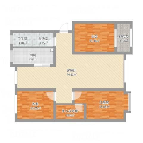 南大港御墅龙湾3室2厅1卫1厨158.00㎡户型图
