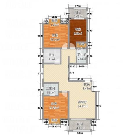 加州壹号3室1厅2卫1厨128.00㎡户型图
