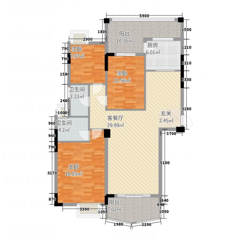 东新华庭132.22㎡福泽苑C1/C2户型3室2厅2卫1厨