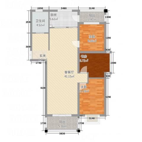 香邑湾3室1厅1卫1厨127.00㎡户型图