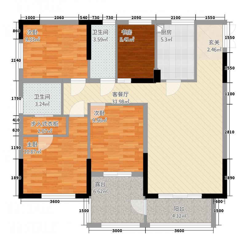 隆成城市之星122.00㎡5号楼B3、B5户型4室2厅2卫1厨