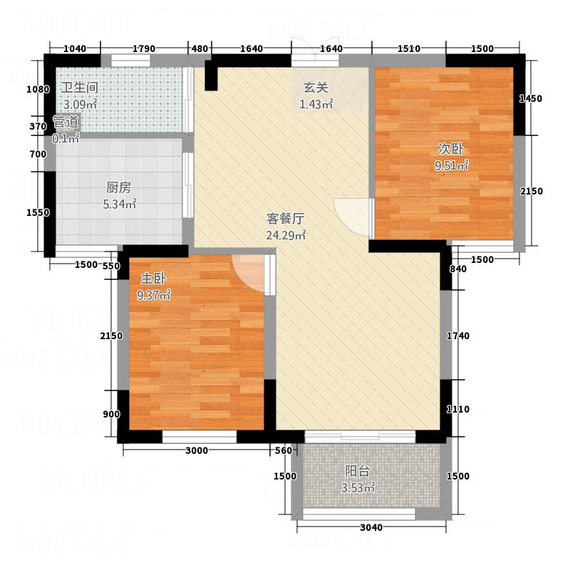 隆成城市之星74.00㎡5号楼B4户型2室2厅1卫1厨