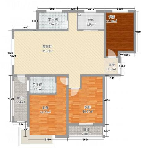 齐云雅苑3室1厅2卫1厨131.00㎡户型图