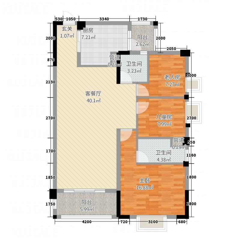 云浮碧桂园113.00㎡J139C户型3室2厅2卫1厨