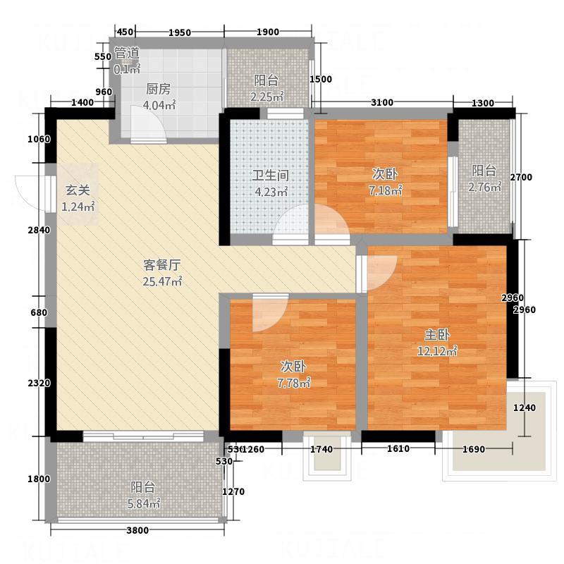悦城逸景3288.37㎡F户型3室2厅1卫1厨