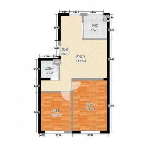 艺豪・鑫隆湾2室1厅1卫1厨79.00㎡户型图