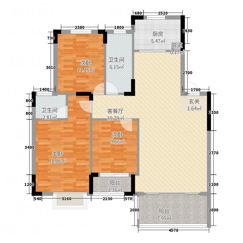 共创铭城135.54㎡A2户型3室2厅2卫1厨