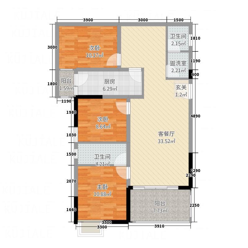 城南大厦115.10㎡B户型3室2厅2卫1厨
