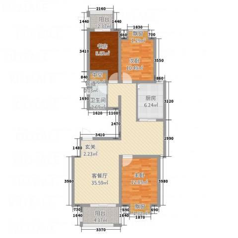加州壹号3室1厅1卫1厨122.00㎡户型图