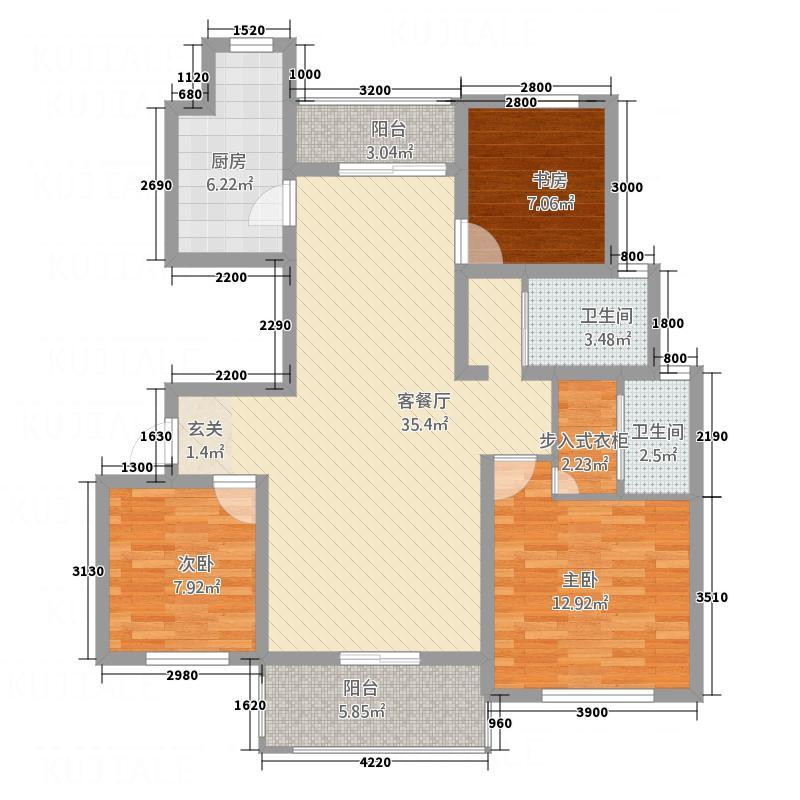 南湖林语3117.13㎡户型3室2厅2卫