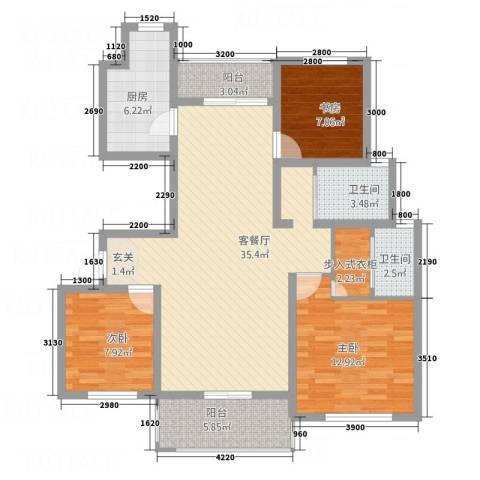 南湖林语3室1厅2卫1厨3117.00㎡户型图