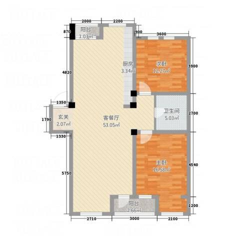 艺豪・鑫隆湾2室1厅1卫0厨128.00㎡户型图