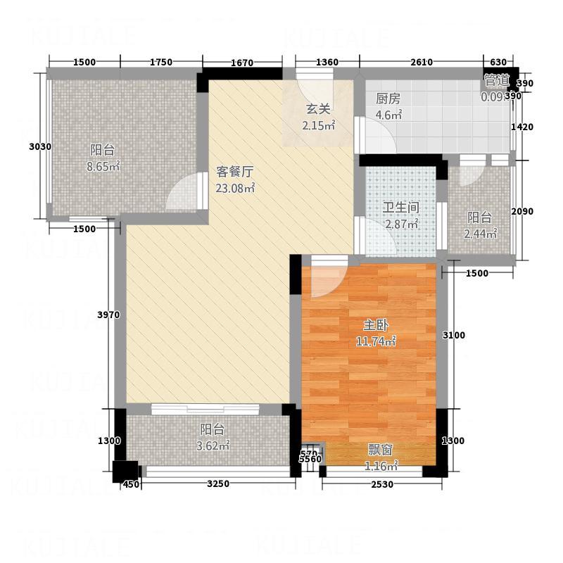 香奈国际71.88㎡b2户型2室2厅1卫1厨