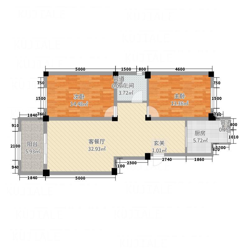宏业・都市华庭78.45㎡户型2室2厅1卫1厨