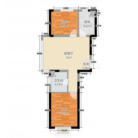 艺豪・鑫隆湾2室1厅1卫1厨74.00㎡户型图