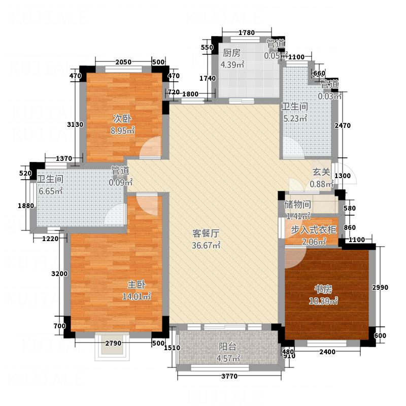 信达-泉天下5126.20㎡D5户型3室2厅2卫