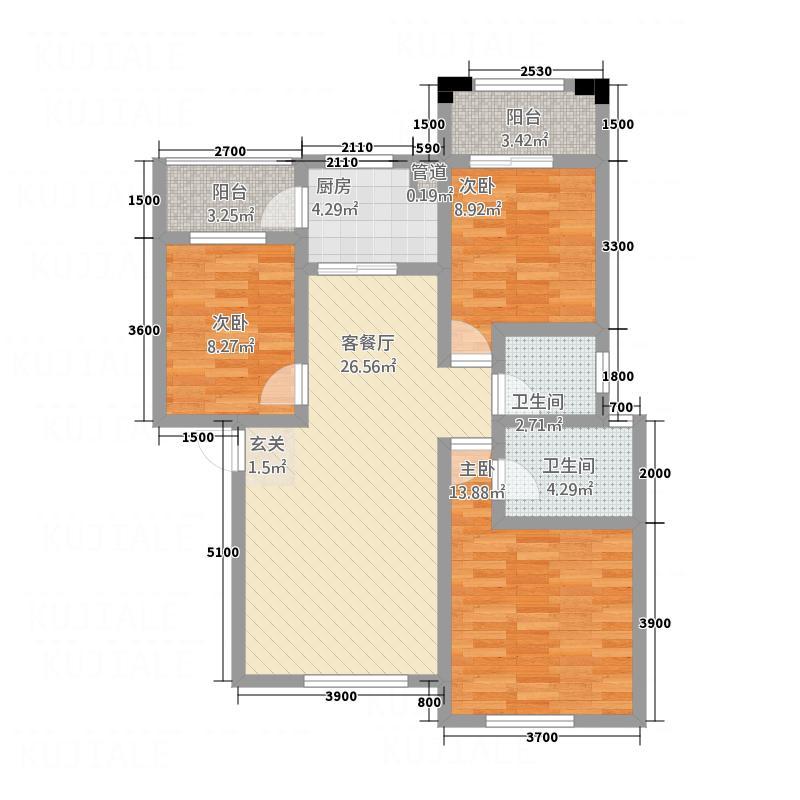 东岸十九座4.00㎡A2户型3室2厅2卫1厨