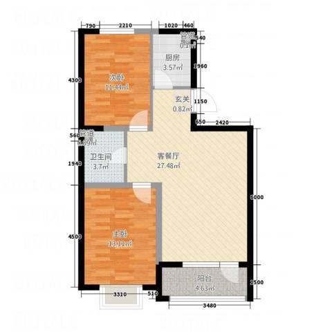 艺豪・鑫隆湾2室1厅1卫1厨91.00㎡户型图