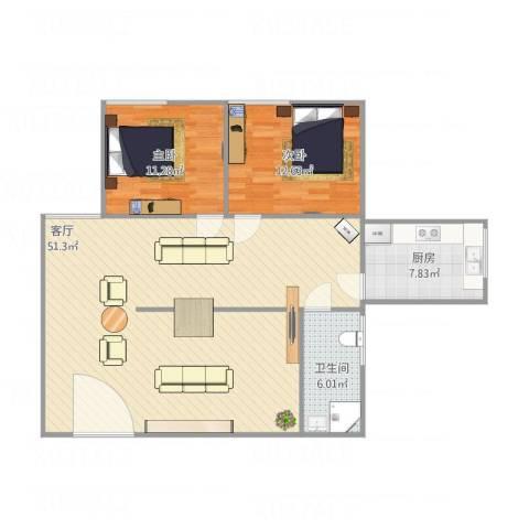 新体村40号2室1厅1卫1厨118.00㎡户型图