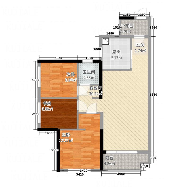 万科金色家园8.00㎡户型3室2厅1卫1厨