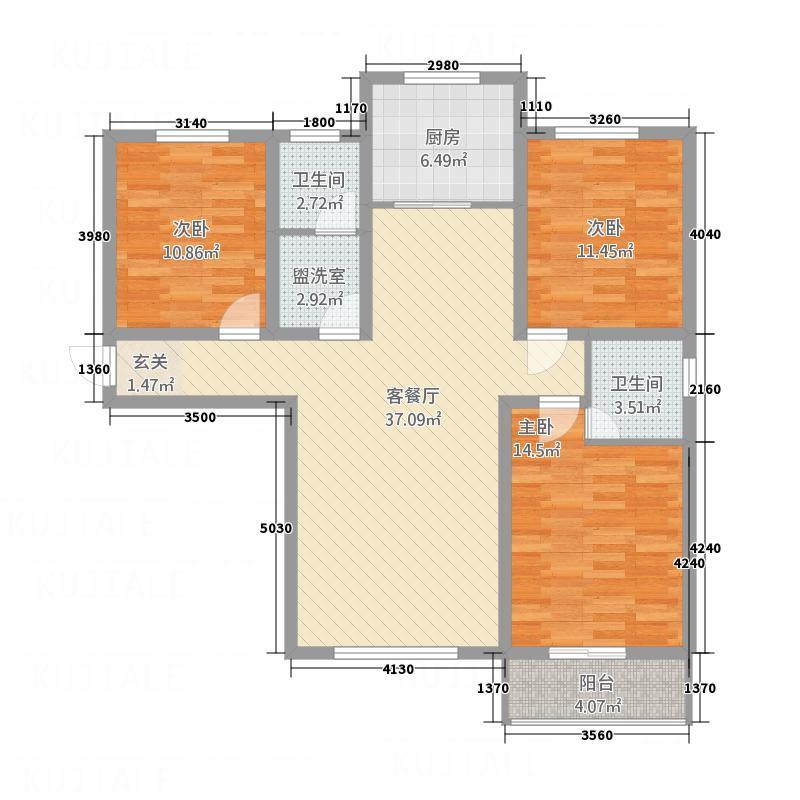 城建清华园134.00㎡F2户型3室2厅2卫1厨