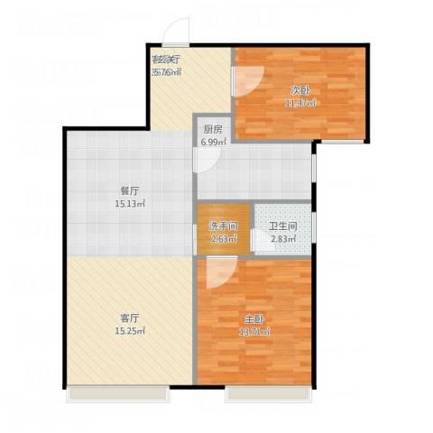 林凯城2室1厅1卫1厨99.00㎡户型图