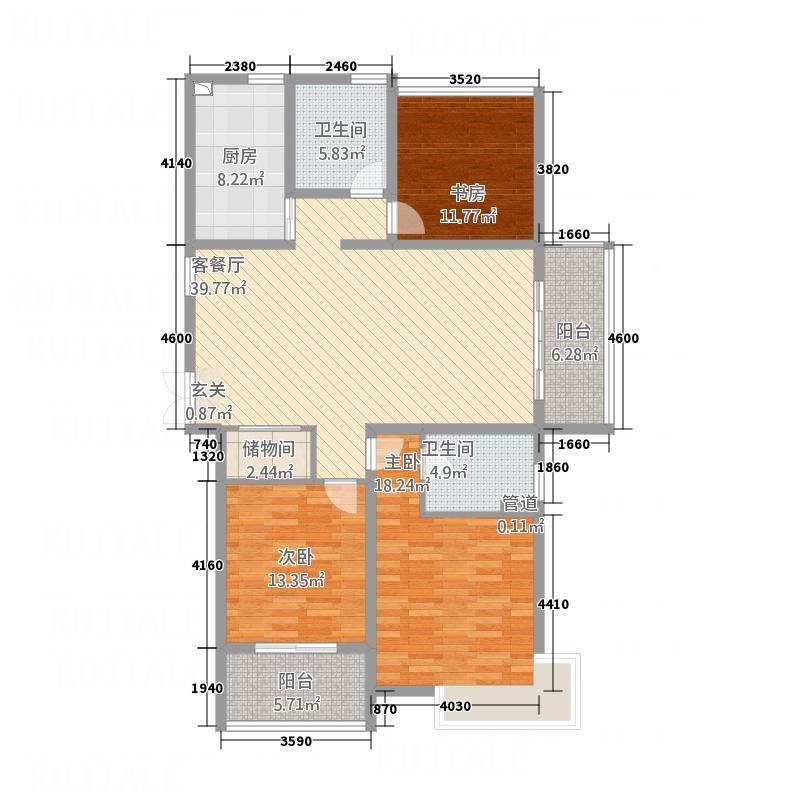 天润园125.60㎡3a户型3室2厅2卫1厨