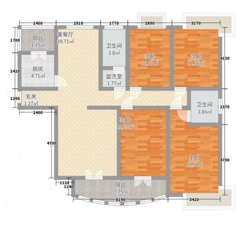 三角花园星城4室2厅2卫1厨168.00㎡户型图