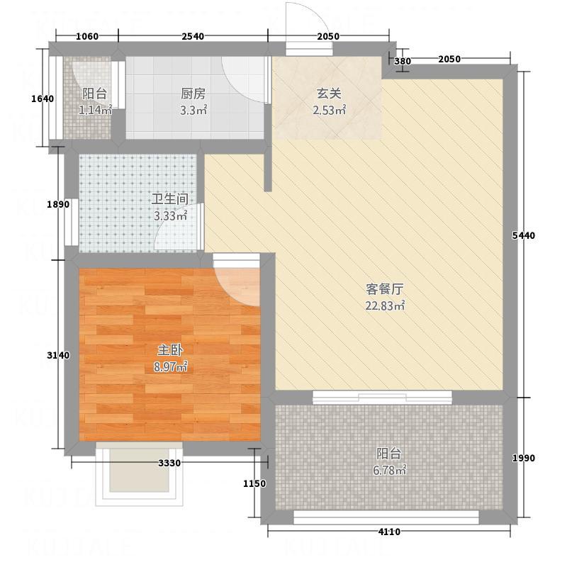 青羊新城66.82㎡B户型1室2厅1卫1厨