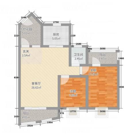 青羊新城2室1厅1卫1厨66.87㎡户型图