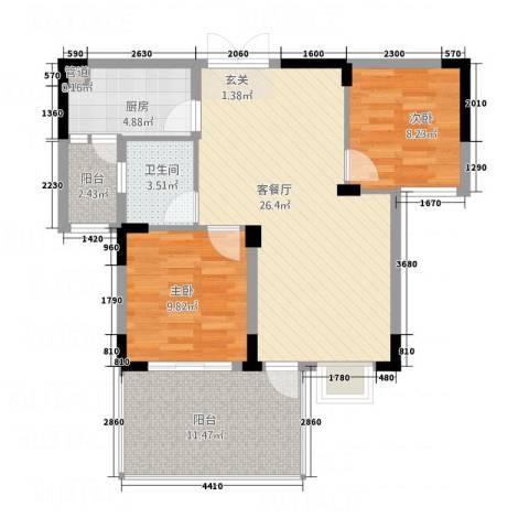 高能上城2室1厅1卫1厨66.88㎡户型图