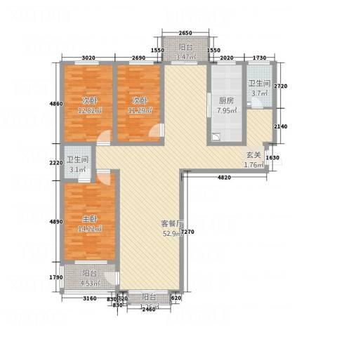 锦绣华城3室1厅2卫1厨167.00㎡户型图