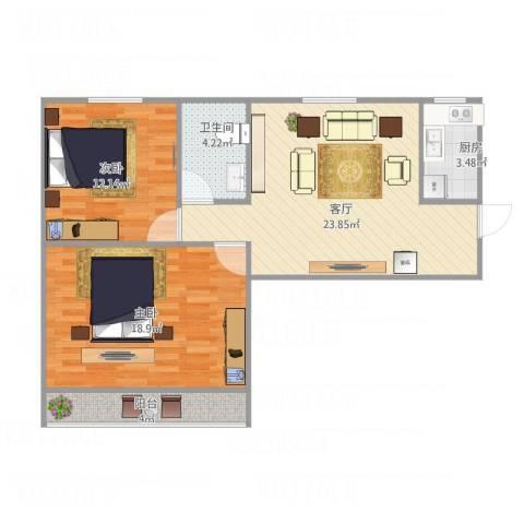 三塘桂园2室1厅1卫1厨90.00㎡户型图