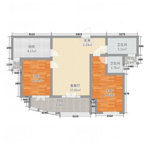 三角花园星城2室1厅2卫1厨115.00㎡户型图