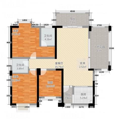 景翠名都3室1厅2卫1厨112.76㎡户型图