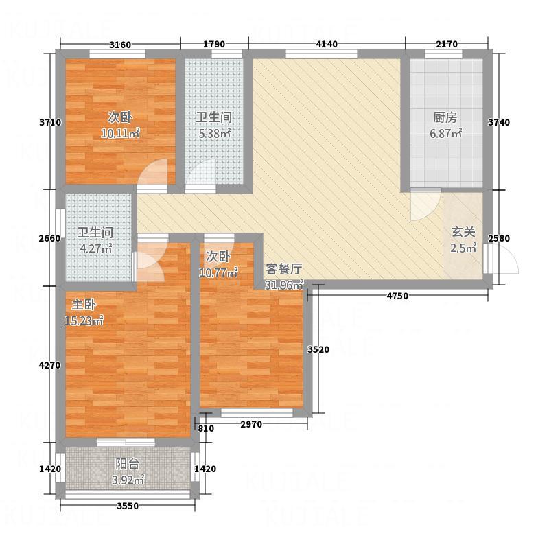 城建清华园128.00㎡G1户型3室2厅2卫1厨