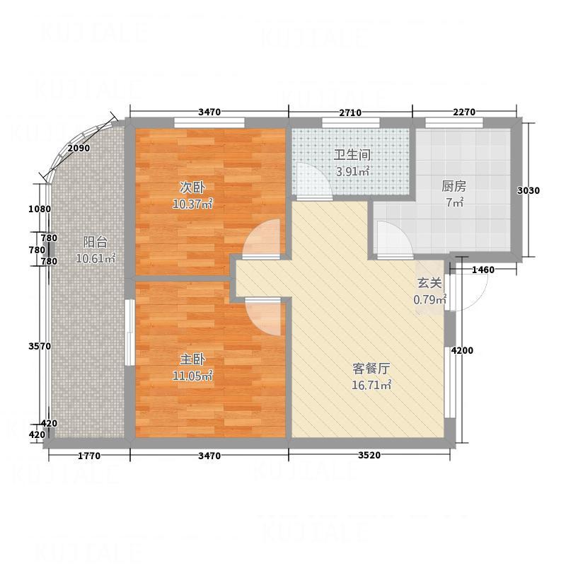 君庭花园84.00㎡方户型2室1厅1卫1厨