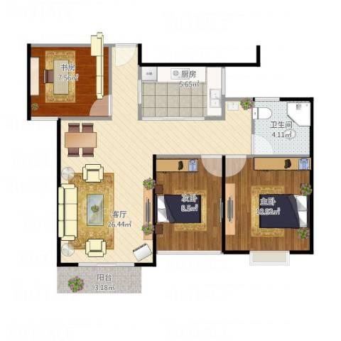 运光新村3室1厅1卫1厨86.00㎡户型图