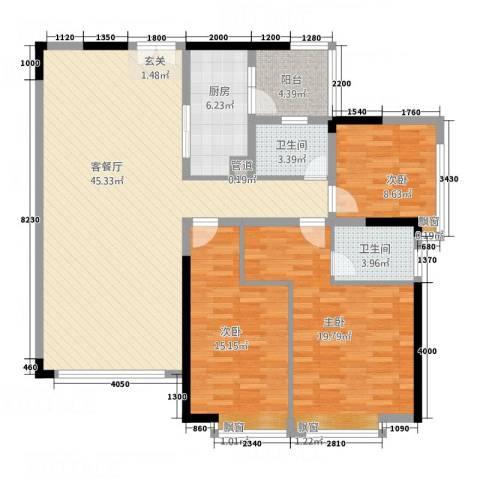 中天维港3室1厅2卫1厨151.00㎡户型图