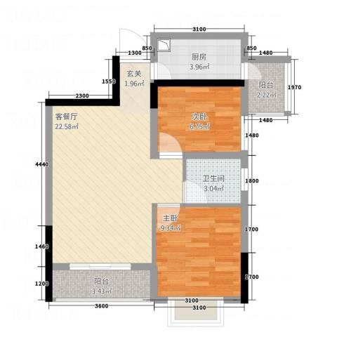 红星国际物流中心2室1厅1卫1厨75.00㎡户型图