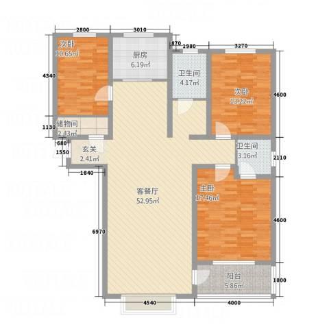 锦绣华城3室1厅2卫1厨165.00㎡户型图