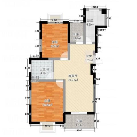 港澳桂苑2室1厅1卫1厨88.00㎡户型图