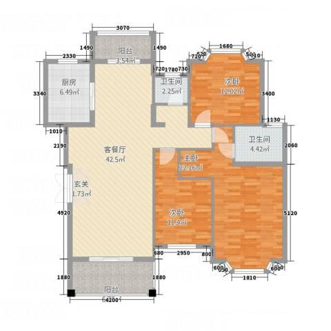 蔚蓝天空3室1厅2卫1厨156.00㎡户型图