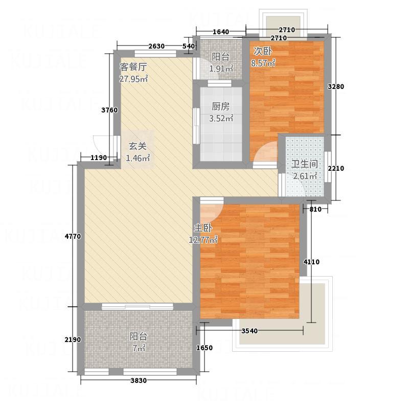 幸福时光4.27㎡A户型2室2厅1卫1厨
