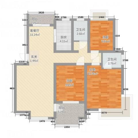 幸福时光3室1厅2卫1厨118.00㎡户型图