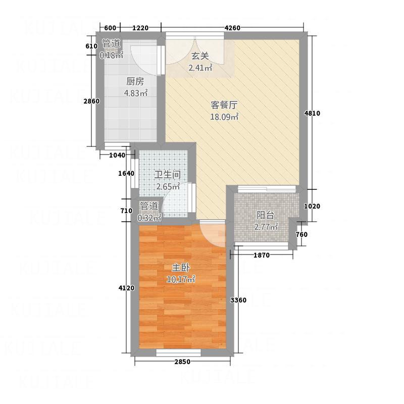 荣城西苑57.72㎡一居室5772户型1室1厅1卫1厨