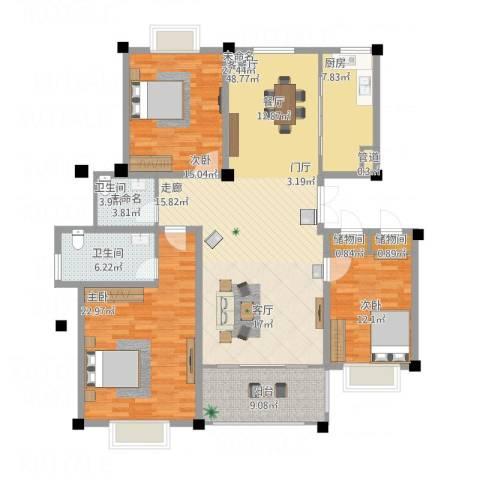 滨河阳光3室1厅1卫1厨179.00㎡户型图