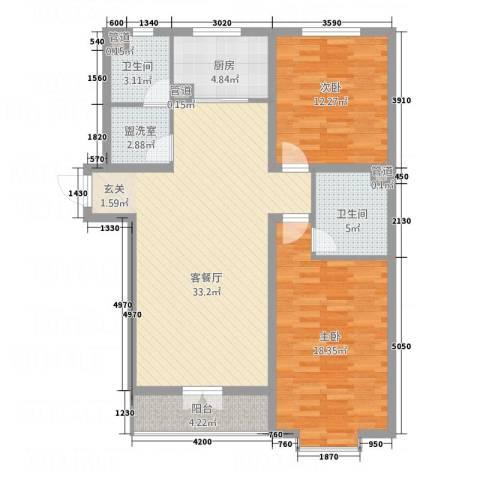 新兴滨河嘉园2室2厅2卫1厨95.58㎡户型图
