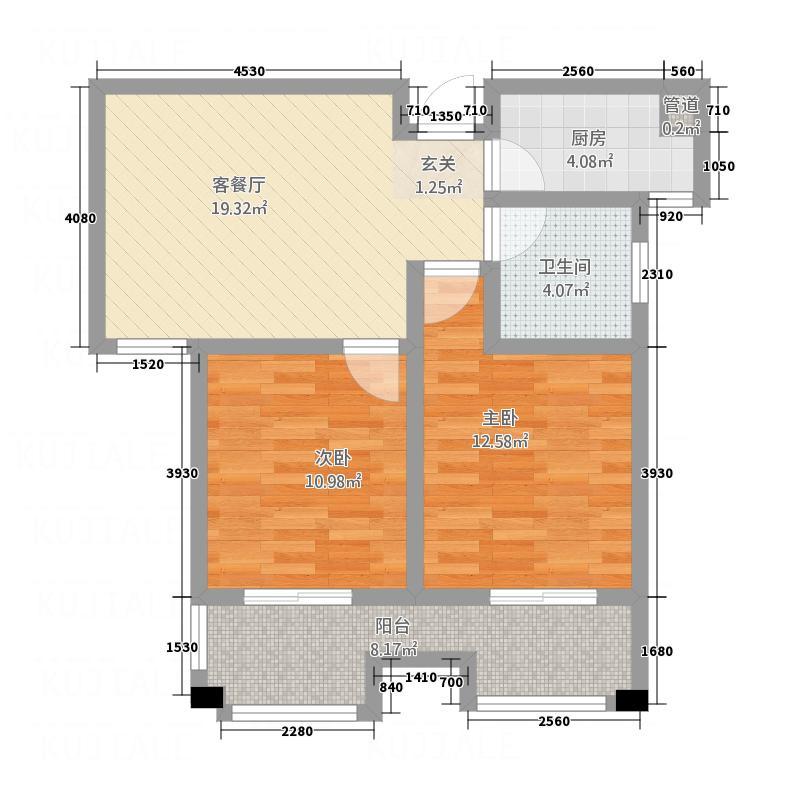 福地锦绣华庭87.20㎡1号2号高层B户型2室2厅1卫1厨