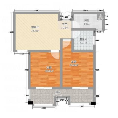 福地锦绣华庭2室1厅1卫1厨87.00㎡户型图